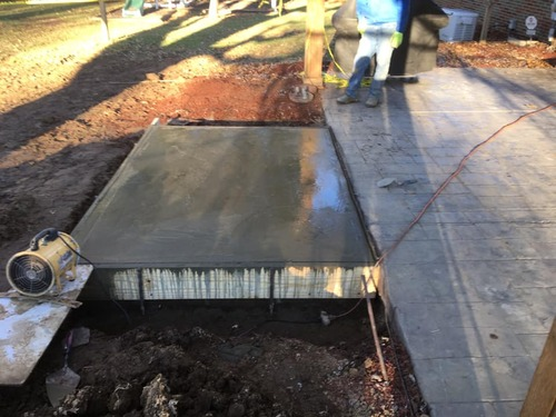 Concrete pad for pizza oven